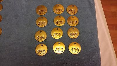 Lot Of 12 Vintage Round Brass Numbered Tags 1 1/2 Inch Key Tool Steampunk