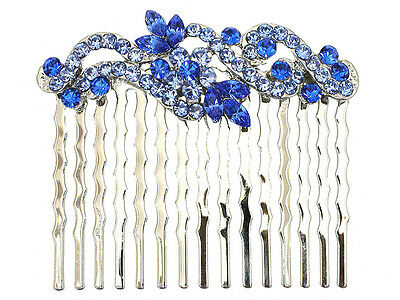 Blue Hair Comb Crystal Floral Bridal Bridesmaid Flower Girl Wedding Party Prom