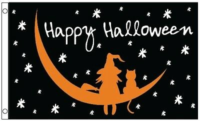 5' x 3' FLAG Happy Halloween Witch And Cat Party Flags 150x90cm New ft