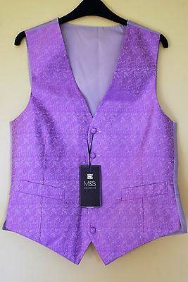 New & Tagged Marks & Spencer Gents Lilac Wedding Formal Silk Waiscoat Size L