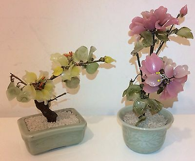 Pair Of vintage Colourful Glass Jade Potted Bonsai Tree Flowering Plant