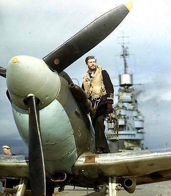 Color WWII Photo Royal Navy Spitfire HMS Indomitable WW2 World War Two  / 7023