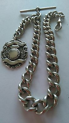 Antique Solid Silver Albert Pocket Watch Chain & Fob.