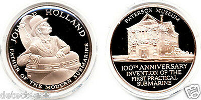 John P Holland Inventor of The First Practical Submarine Bronze Proof Coin Medal