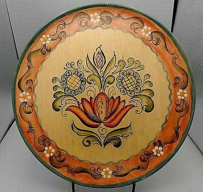 Vintage Signed Wood Norwegian Rosemaling Tray Charger Hand-Painted