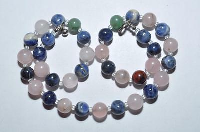 Pretty Vintage Necklace Of Rose Quartz And Agate Pebble Beads