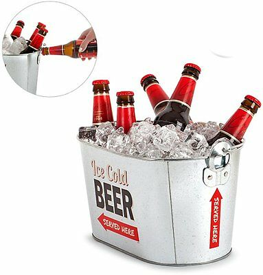 Balvi BEER COOLER PARTY TIME + BOTTLE OPENER Metal Ice Bucket DRINK Holder
