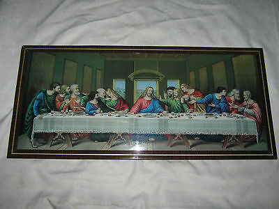 A Large Framed Retro Domed Face Glass Print of The Last Supper