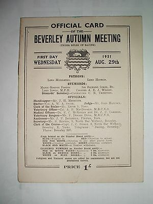 Beverley  Race Card  (  Wednesday 29Th August 1951  )