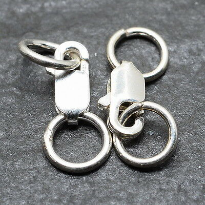 2Pcs Oval Trigger Pear 100% Solid 925 Silver Lobster Clasps Findings 8X3X2Mm