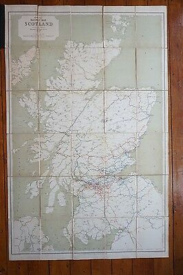 1920 Railway Clearing House RCH Map of Scotland Linen Backed & Bound