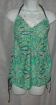Liz Lange Sp Aqua & Green Maternity Removable Pads Halter Tie Side Tankini