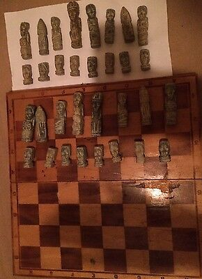 Vintage Stone Chess Pieces And Board