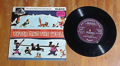 "'Peter and The Wolf' STERLING HOLLOWAY 7"" vinyl mono single Disneyland 7EG 8824"