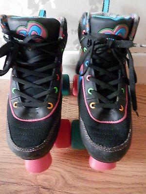 Rio Roller Boots - Size 3 EU 35.5 Blacvk with Pink/Blue/ Green Trim