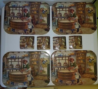 Set of 8 Placemats and Matching Coasters Cheese Making Story Brown Beige