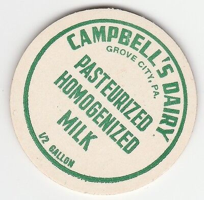 Milk Bottle Cap. Campbell's Dairy. Grove City, Pa.