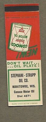 Stephani Strupp Oil Co Manitowoc Wisconsin Flat Matchcover A420