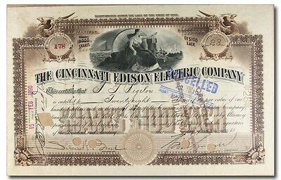 S013 Cincinnati Edison Electric Company Stock Certificate Brown