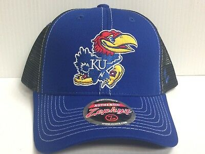 the latest 0bb0b e8475 Kansas Jayhawks Cap Zephyr Adjustable Snapback Staple Trucker Mesh Hat NCAA