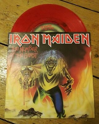 "Iron Maiden - The Number Of The Beast 7"" Red Vinyl Emi 5287 Red Vinyl Vg+!"