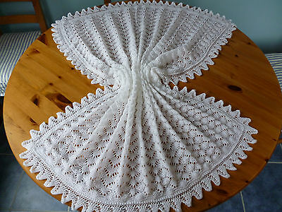 Beautiful White Hand Knitted Baby Blanket Or Shawl 4 Ply