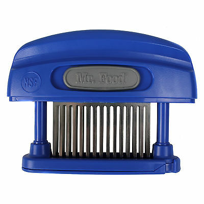 Mr. Food Butcher Magician 45-Blade Stainless Steel Meat Tenderizer + Cover, Blue