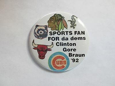 Celluloid Pinback for Bill Clinton for President & Braun for US Senate, Illinois
