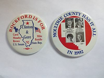 Two Celluloid Pinbacks for Bill Clinton for President, Carol Braun for US Senate