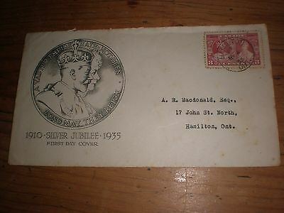 King George V 1935 Rare Canada First Day Cover,1910 -1935 Silver Jubilee