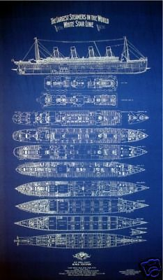 RMS TITANIC 1912 White Star Line Print Blueprint Plan 21x34 Huge ! (001)
