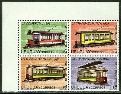 Uruguay 1998 Montevideo Strretcars in Se-tenant Block of Four Stamps MNH