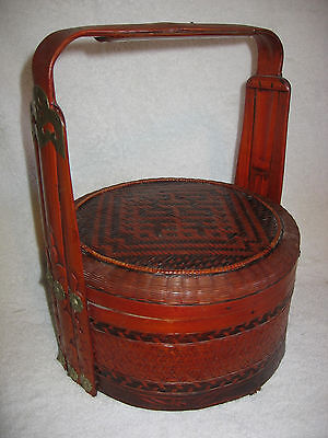 Vintage Asian/chinese Woven/rattan Wedding Dowry Basket With Lid