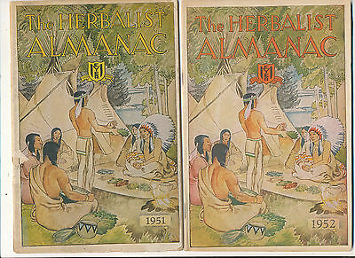 Misc 786 1951 & 1952 Herbalist Almanacs Indian Motiff Cover Lots Of Herb Info