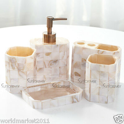 Shell Color Resin 5-in-1 Soap Dish/2Tooth Mugs/Emulsion Bottle/Toothbrush Holder