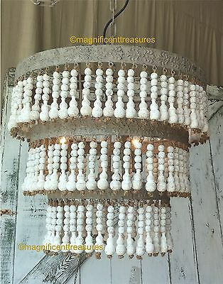 Country French White Wash Wood Beaded Metal Chandelier Light Bohemian Cottage