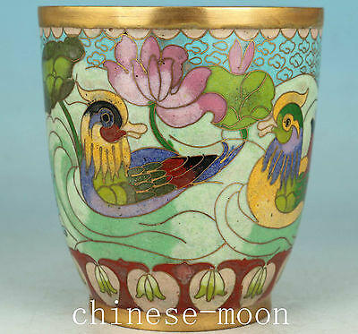 Rare Chinese Old Coloured Cloisonne Handmade Painting Mandarin Duck Big Cup