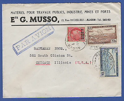 M743 - ALGERIA 1946  Airmail 31 Fr rate cover ALGER to Chicago USA
