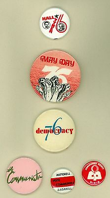 6 Vintage 1976 Communist Party USA Political Pinback Buttons Flier Hall Tyner