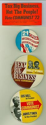 3 Vintage 1970s Communist Party USA Hall Tyner Political Pinback Buttons Sticker