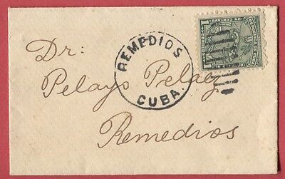 L731 - CARIBE circa 1914 1c Map stamp on tiny local cover from REMEDIOS