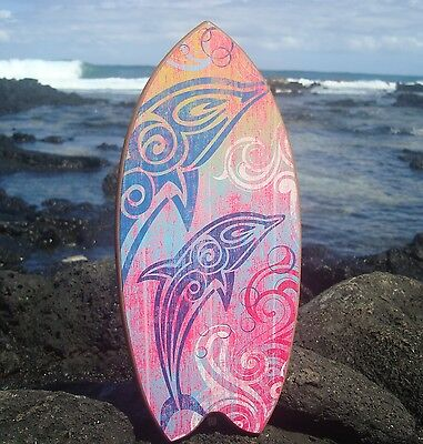 PSYCHEDELIC DOLPHINS SURFBOARD Ocean Blue & Hot Pink Beach Sign Home Decor NEW