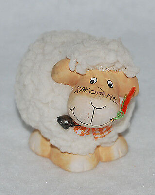CLAY SHEEP FIGURINE, WITH REAL WOOL from the city of Zakoiane, Poland