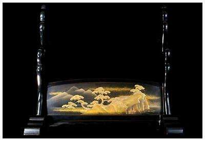 #116 FINE! Japanese wooden Landscape painting gold makie Sword rack stand