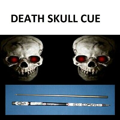 """""""DEATH"""" POOL SNOOKER CUE 2 Piece Graphite Composite SKULL GRAPHICS Must See !!"""