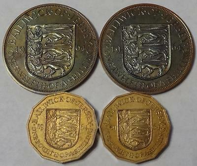 1964 Jersey, Proof Set, (2) 1/12 Shilling & (2) 1/4 Shilling, 4 Coins