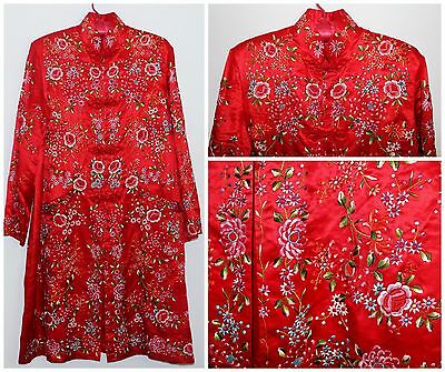 Estate Chinese Embroidered Red Silk Informal Robe Textile Floral Early Republic