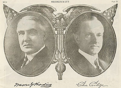 1920 Original Full Page RNC PRESIDENTIAL Election AD. HARDING and COOLIDGE.