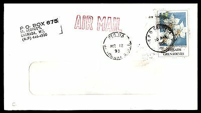 1993 Grenada Bequia Airmail Flower Stamp Cover