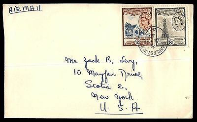 ST KITTS 1960 Charlestown to US New York Airmail 2 Stamps COVER